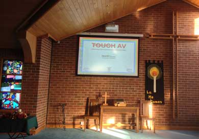 Church projector screen installation